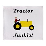 Yellow Tractor Junkie Throw Blanket