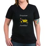 Yellow Tractor Junkie Women's V-Neck Dark T-Shirt