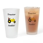 Yellow Tractor Junkie Drinking Glass