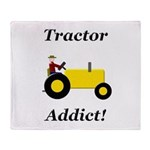 Yellow Tractor Addict Throw Blanket