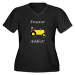 Yellow Tractor Addict Women's Plus Size V-Neck Dar