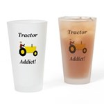 Yellow Tractor Addict Drinking Glass