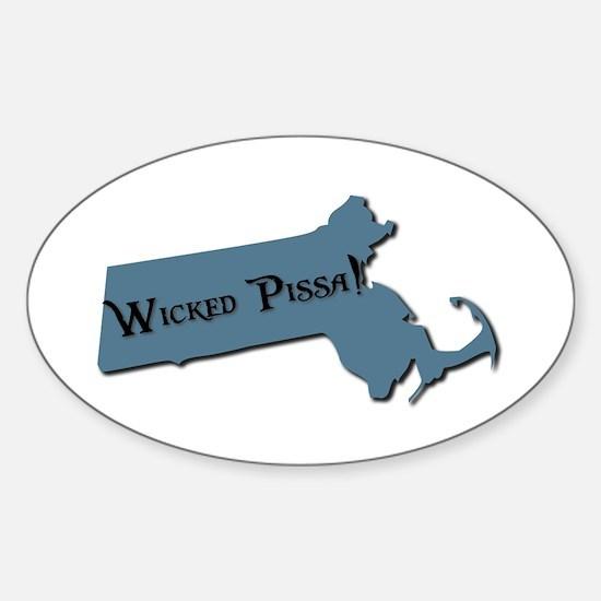 Wicked Pissa Massachusetts Oval Decal
