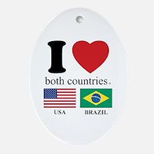 USA-BRAZIL.Psd Ornament (Oval)