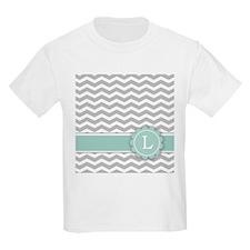 Letter L Mint Monogram Grey Chevron T-Shirt