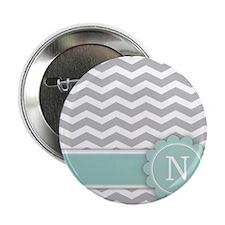 "Letter N Mint Monogram Grey Chevron 2.25"" Button"