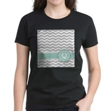 Letter Q Mint Monogram Grey Chevron T-Shirt