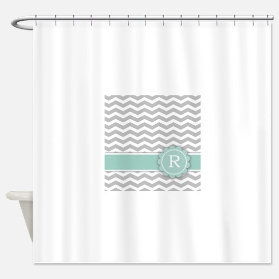 mint and grey shower curtain. Letter R Mint Monogram Grey Chevron Shower Curtain And Curtains  CafePress