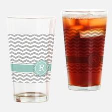 Letter R Mint Monogram Grey Chevron Drinking Glass