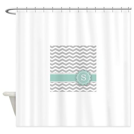 Letter S Mint Monogram Grey Chevron Shower Curtain By