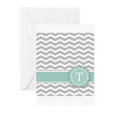 Letter T Mint Monogram Grey Chevron Greeting Cards