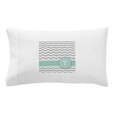 Letter T Mint Monogram Grey Chevron Pillow Case