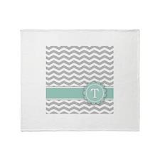 Letter T Mint Monogram Grey Chevron Throw Blanket