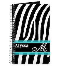 Zebra Print Blue Personalized Journal