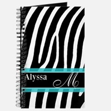 Zebra Print Blue Personalized Journal