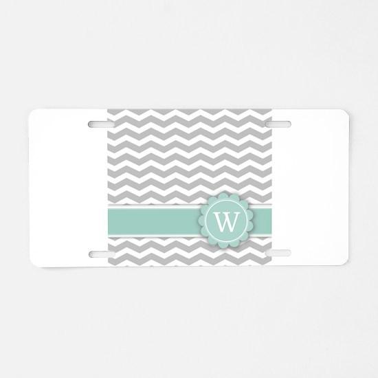 Letter W Mint Monogram Grey Chevron Aluminum Licen