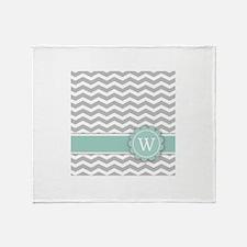 Letter W Mint Monogram Grey Chevron Throw Blanket