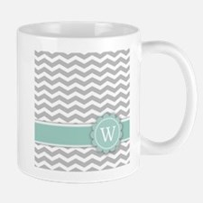 Letter W Mint Monogram Grey Chevron Mugs