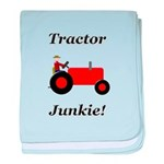 Red Tractor Junkie baby blanket