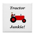 Red Tractor Junkie Tile Coaster