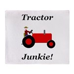 Red Tractor Junkie Throw Blanket