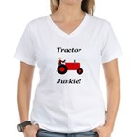 Red Tractor Junkie Women's V-Neck T-Shirt