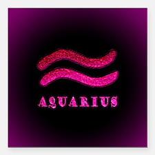 """Aquarius Zodiac Symbol Square Car Magnet 3"""" x 3"""""""