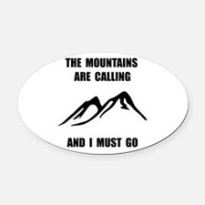 Unique Mountains Oval Car Magnet