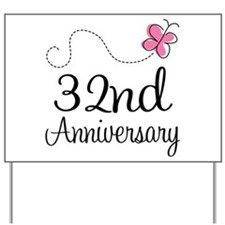 32nd Anniversary Butterfly Yard Sign