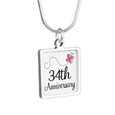 34th Anniversary Butterfly Silver Square Necklace