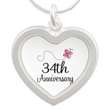 34th Anniversary Butterfly Silver Heart Necklace