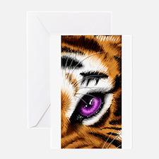 Tiger Purple Eye Greeting Cards