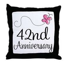 42nd Anniversary Butterfly Throw Pillow