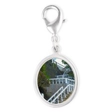 Beach Stairway Silver Oval Charm