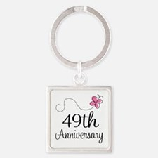 49th Anniversary Butterfly Square Keychain