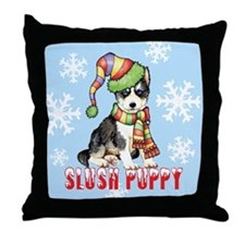 Holiday Husky Throw Pillow