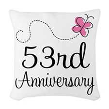 53rd Anniversary Butterfly Woven Throw Pillow