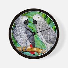 African Greys Wall Clock