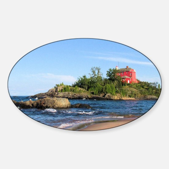 Marquette's red light house Sticker (Oval)