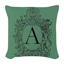 Tea Green Personalized Monogram Woven Throw Pillow