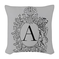 Grey Personalized Monogram Woven Throw Pillow