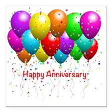 "Happy Anniversary Square Car Magnet 3"" x 3"""