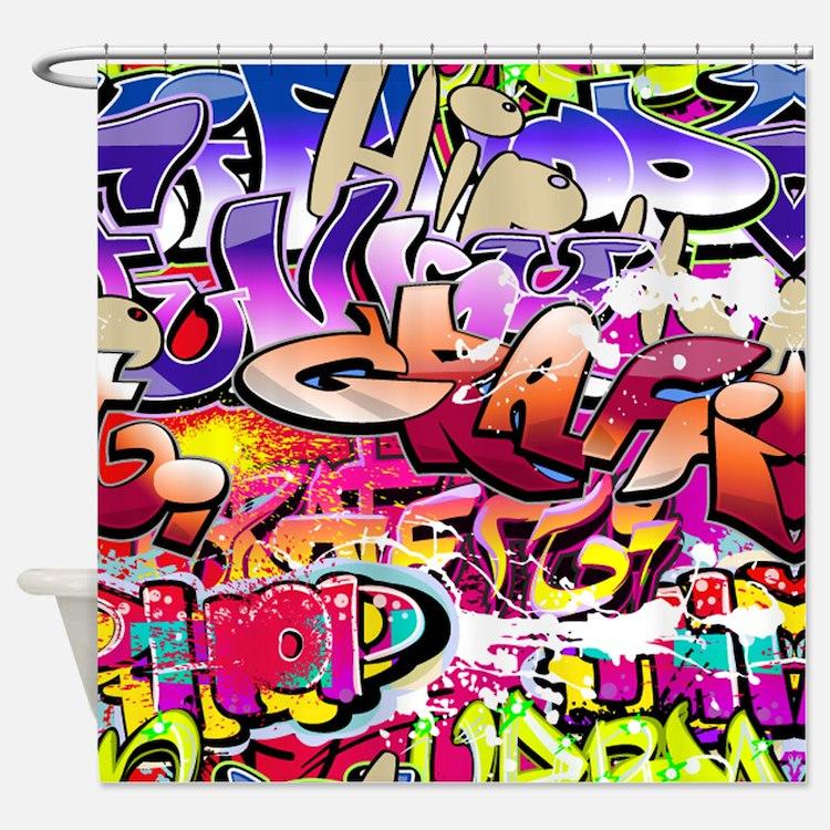 Graffiti Print Pattern Shower Curtain