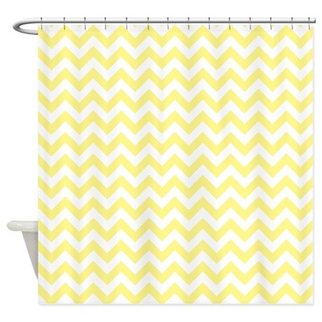 Light Yellow And White ZigZag Shower Curtain