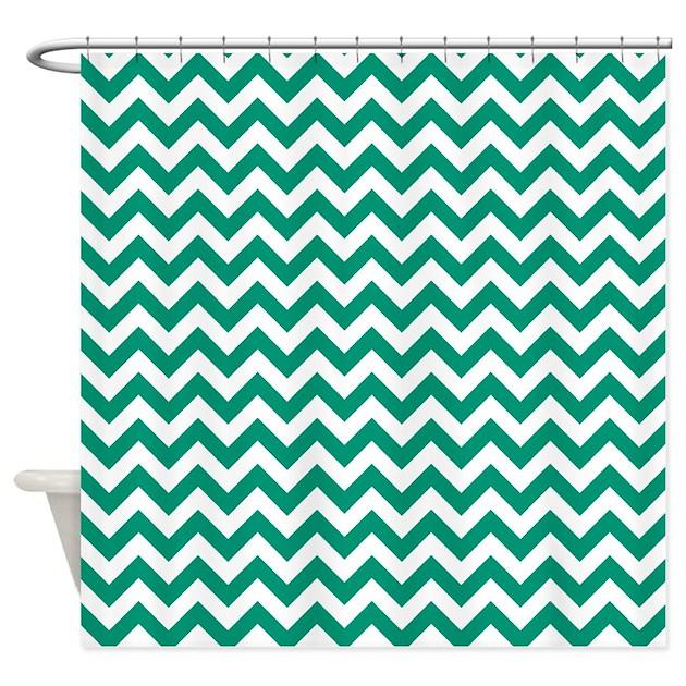 emerald green and white zigzag shower curtain by zandiepantshomedecor. Black Bedroom Furniture Sets. Home Design Ideas