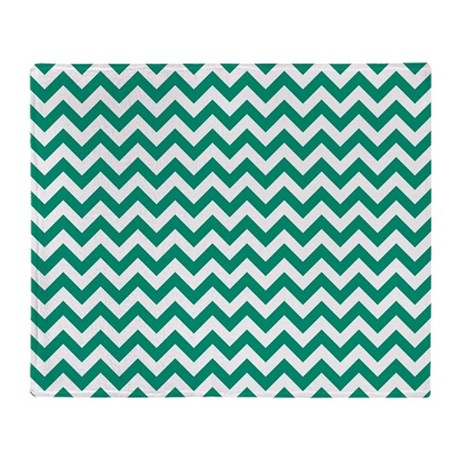 Emerald green and white zigzag throw blanket by - Emerald green throw blanket ...
