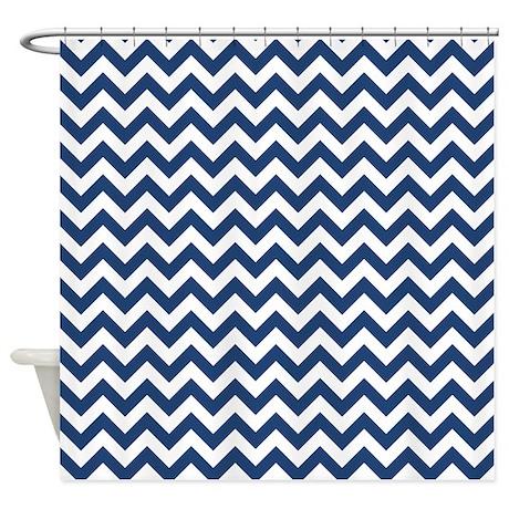 dark blue and white zigzag shower curtain by zandiepantshomedecor. Black Bedroom Furniture Sets. Home Design Ideas