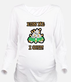 kiss-me-quit-smoking.png Long Sleeve Maternity T-S