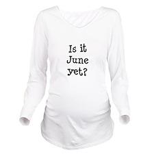 FIN-june-yet.png Long Sleeve Maternity T-Shirt