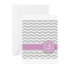 Letter J Pink Monogram Grey Chevron Greeting Cards